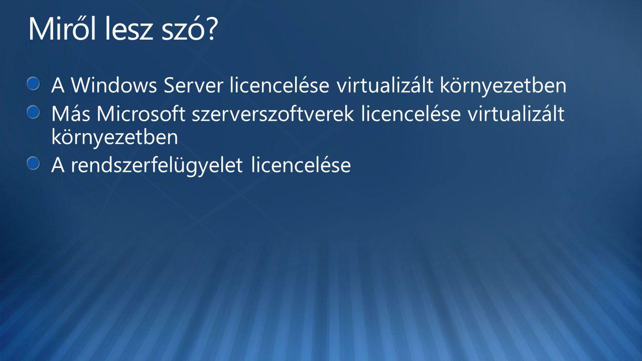 Miről lesz szó A Windows Server licencelése virtualizált környezetben