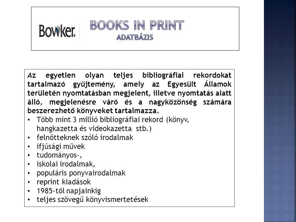 Books in Print adatbázis