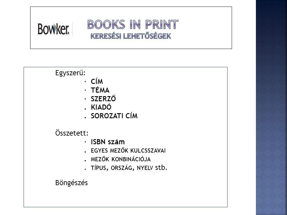 Books in Print Keresési lehetőségek