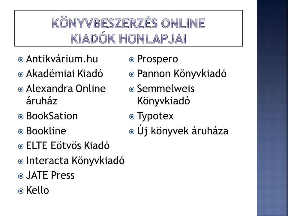 könyvBeszerzés online Kiadók honlapjai
