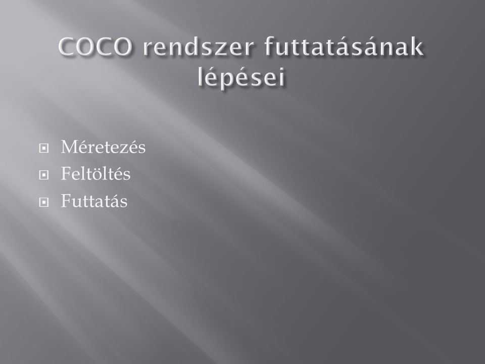COCO rendszer futtatásának lépései