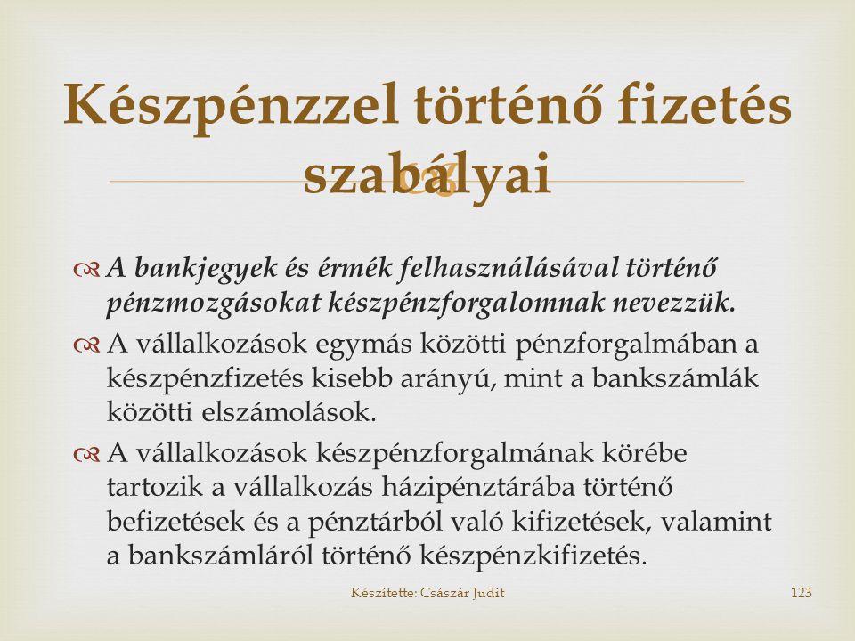 Készpénzzel történő fizetés szabályai