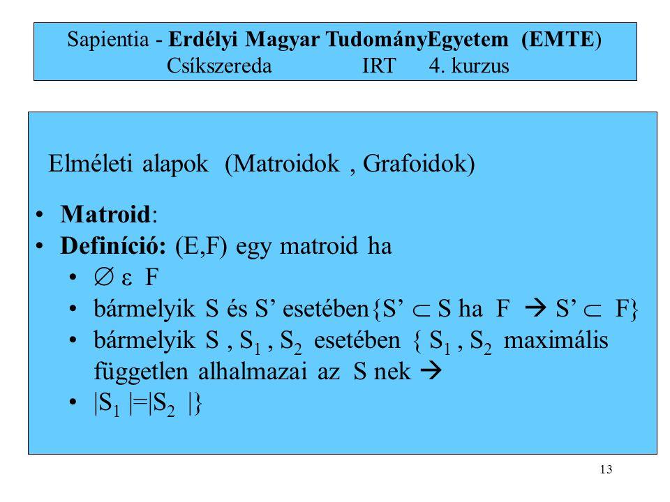 Elméleti alapok (Matroidok , Grafoidok) Matroid: