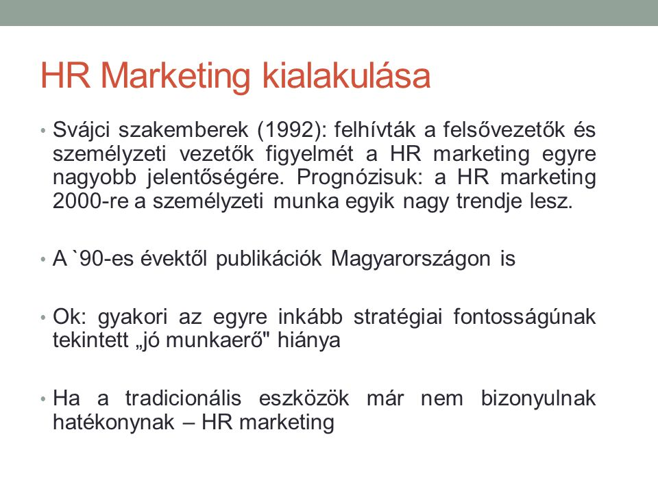 HR Marketing kialakulása