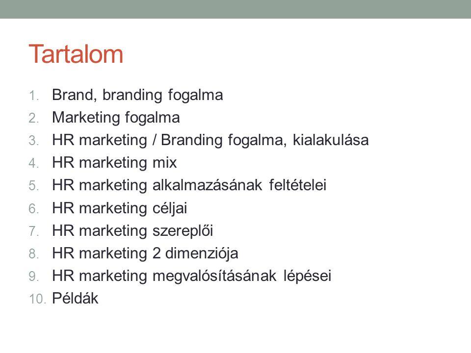 Tartalom Brand, branding fogalma Marketing fogalma