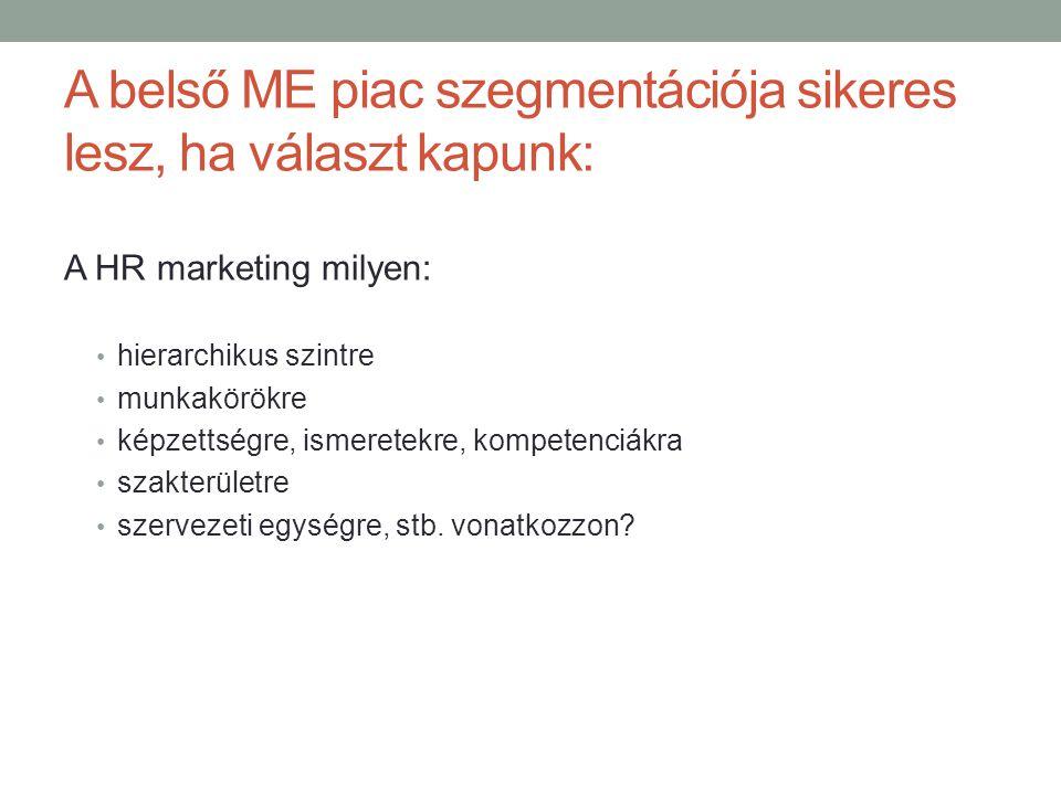A belső ME piac szegmentációja sikeres lesz, ha választ kapunk:
