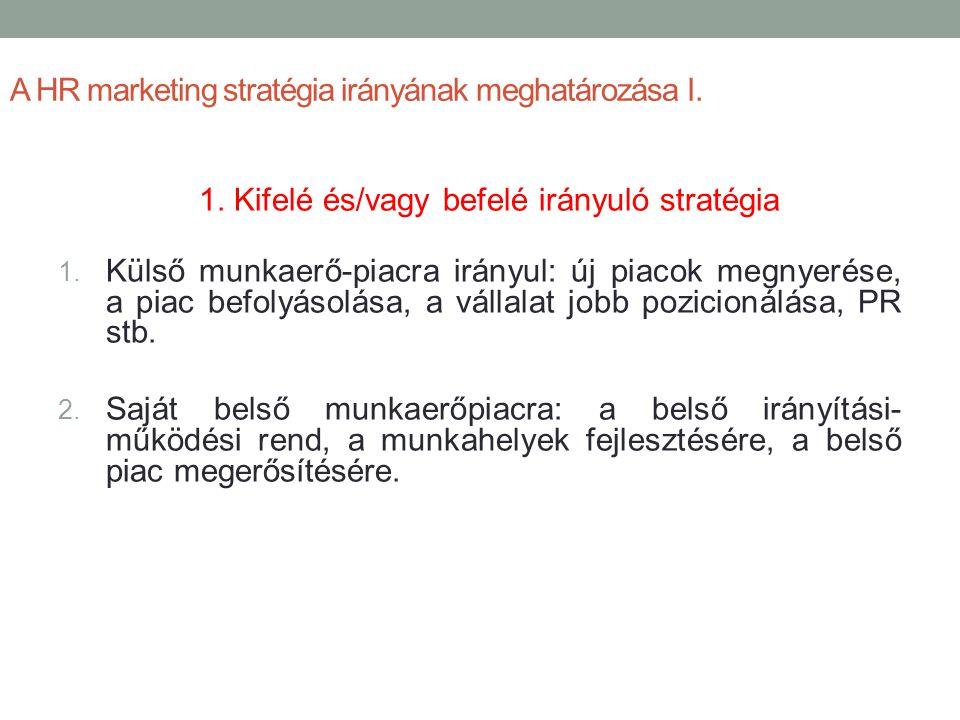 A HR marketing stratégia irányának meghatározása I.