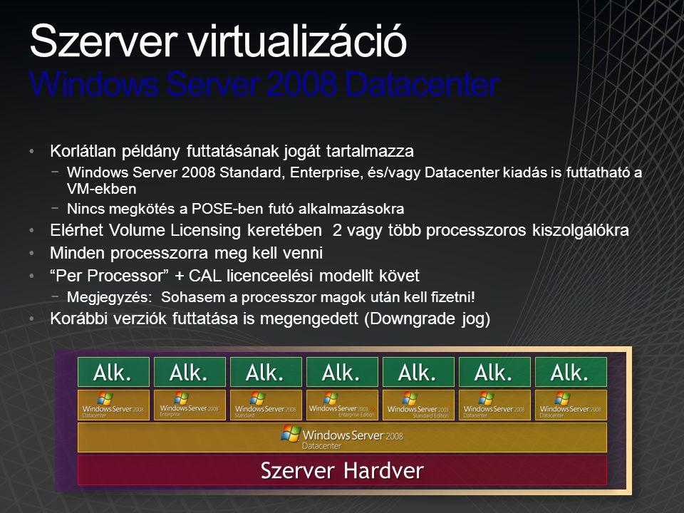 Szerver virtualizáció Windows Server 2008 Datacenter