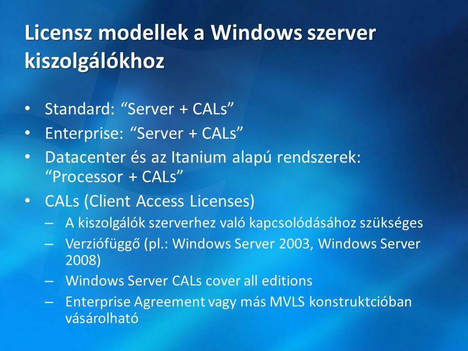 Licensz modellek a Windows szerver kiszolgálókhoz