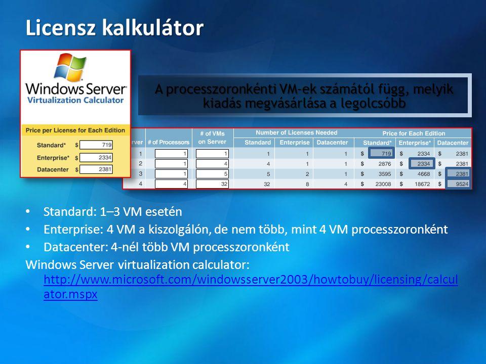 Licensz kalkulátor A processzoronkénti VM-ek számától függ, melyik kiadás megvásárlása a legolcsóbb.