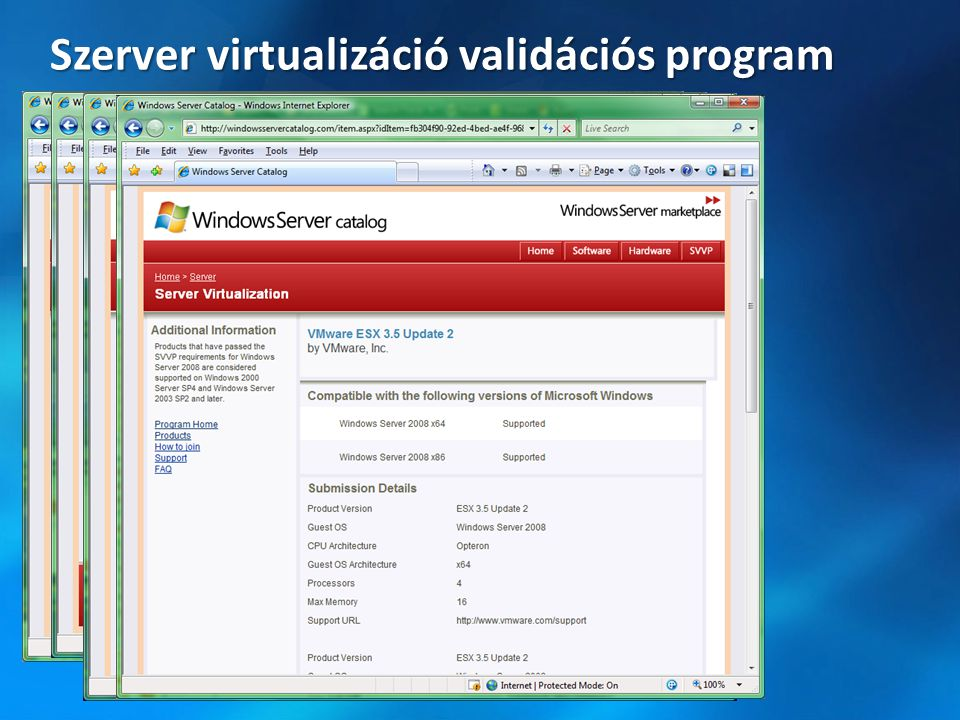 Szerver virtualizáció validációs program
