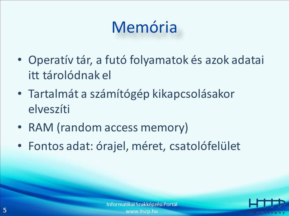 Memória Operatív tár, a futó folyamatok és azok adatai itt tárolódnak el. Tartalmát a számítógép kikapcsolásakor elveszíti.