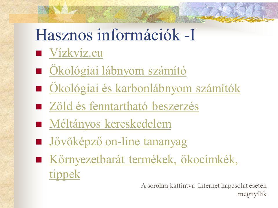 Hasznos információk -I