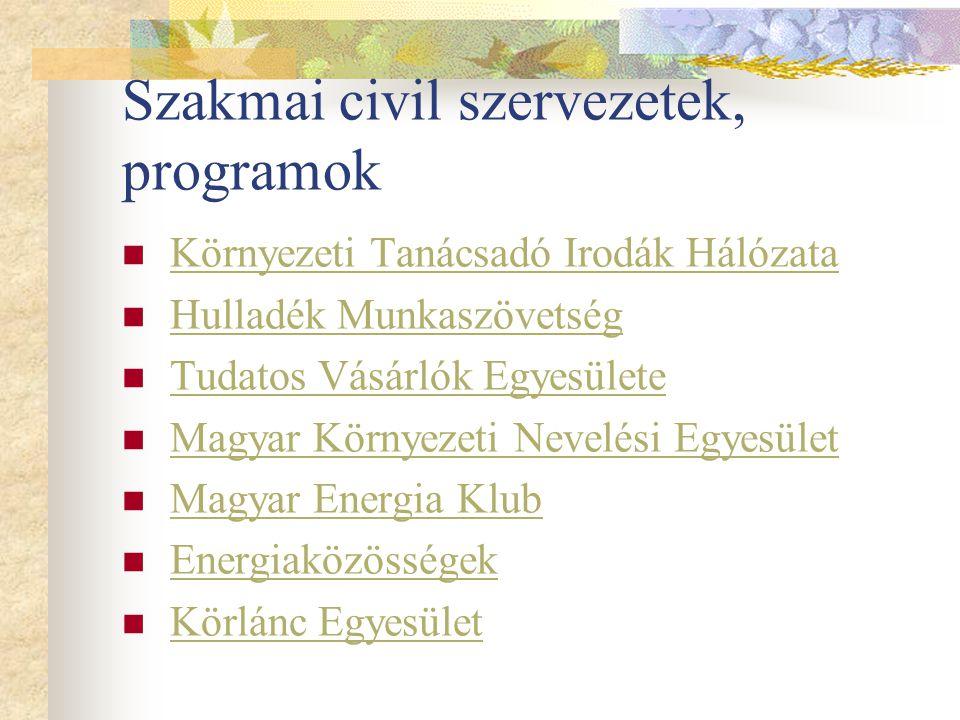 Szakmai civil szervezetek, programok