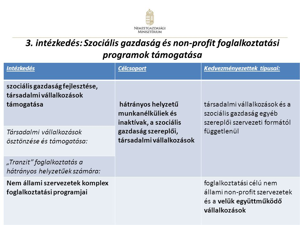 3. intézkedés: Szociális gazdaság és non-profit foglalkoztatási programok támogatása