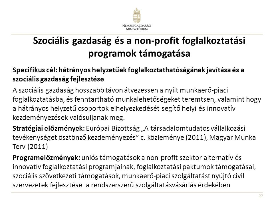 Szociális gazdaság és a non-profit foglalkoztatási programok támogatása