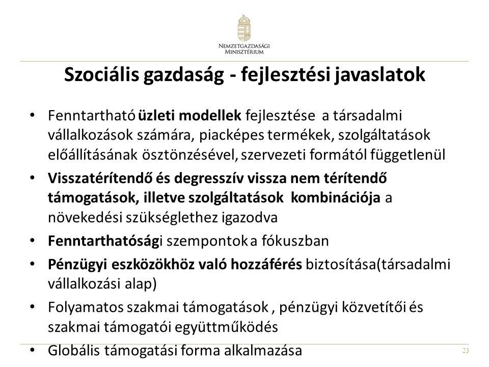 Szociális gazdaság - fejlesztési javaslatok