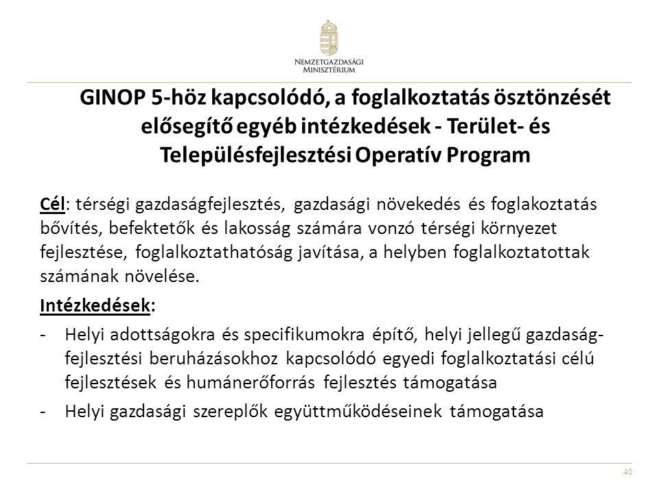 GINOP 5-höz kapcsolódó, a foglalkoztatás ösztönzését elősegítő egyéb intézkedések - Terület- és Településfejlesztési Operatív Program
