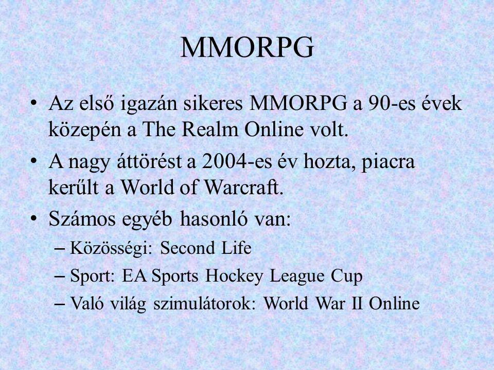 MMORPG Az első igazán sikeres MMORPG a 90-es évek közepén a The Realm Online volt.