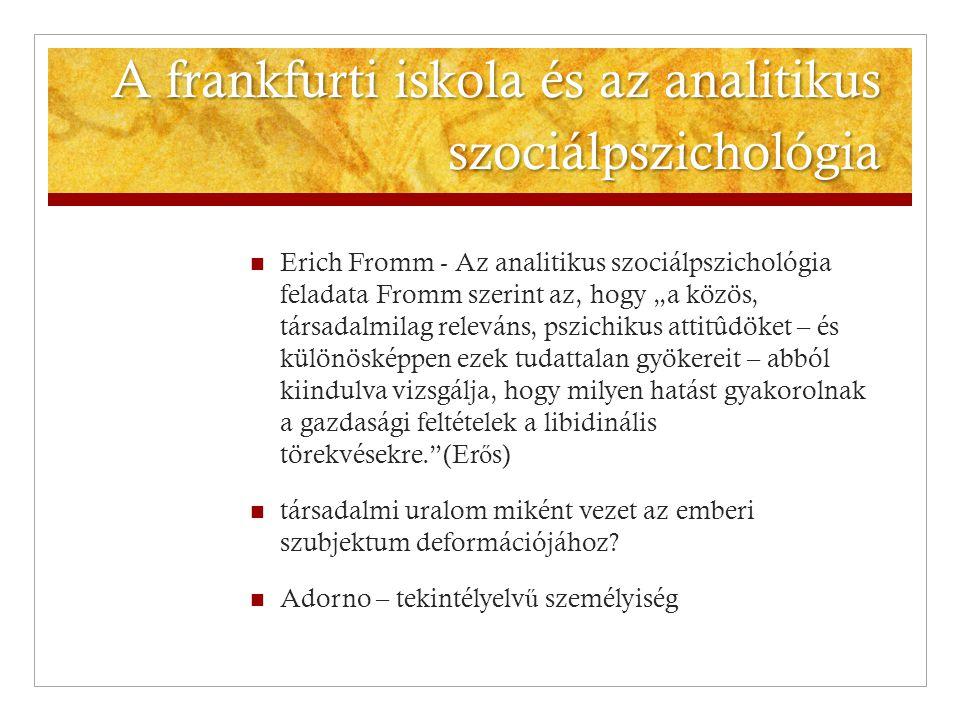 A frankfurti iskola és az analitikus szociálpszichológia