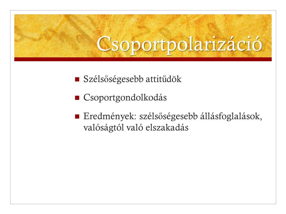 Csoportpolarizáció Szélsőségesebb attitűdök Csoportgondolkodás