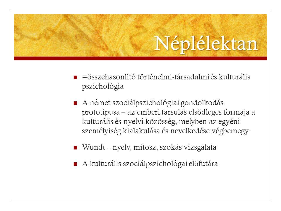 Néplélektan =összehasonlító történelmi-társadalmi és kulturális pszichológia.
