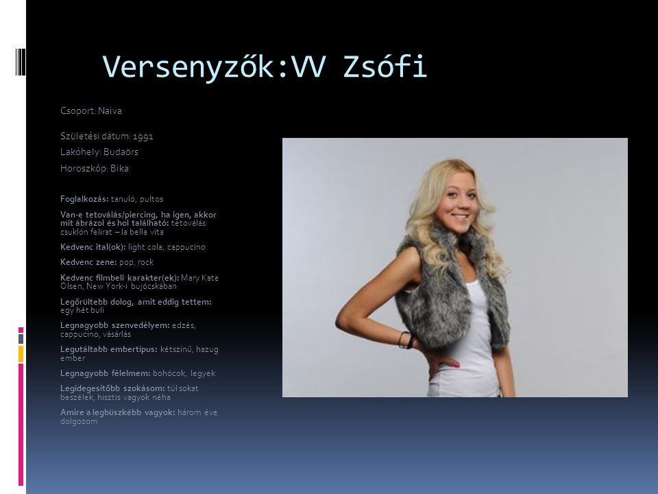 Versenyzők:VV Zsófi Csoport: Naiva Születési dátum: 1991