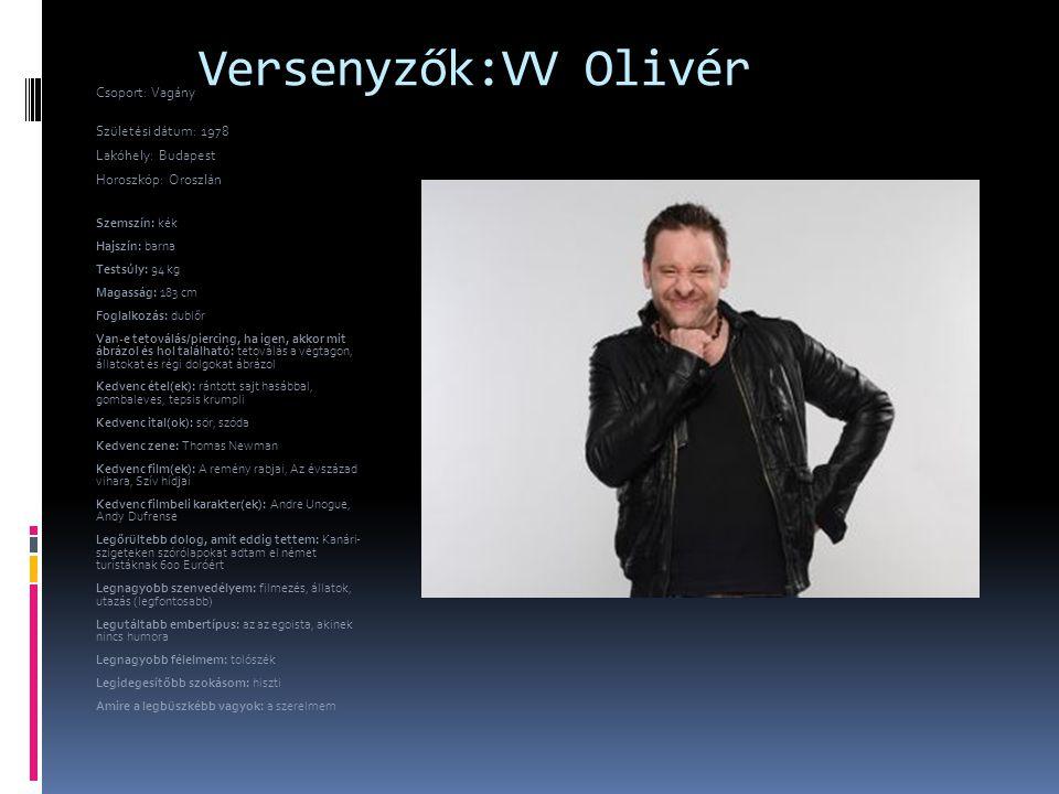 Versenyzők:VV Olivér Csoport: Vagány Születési dátum: 1978