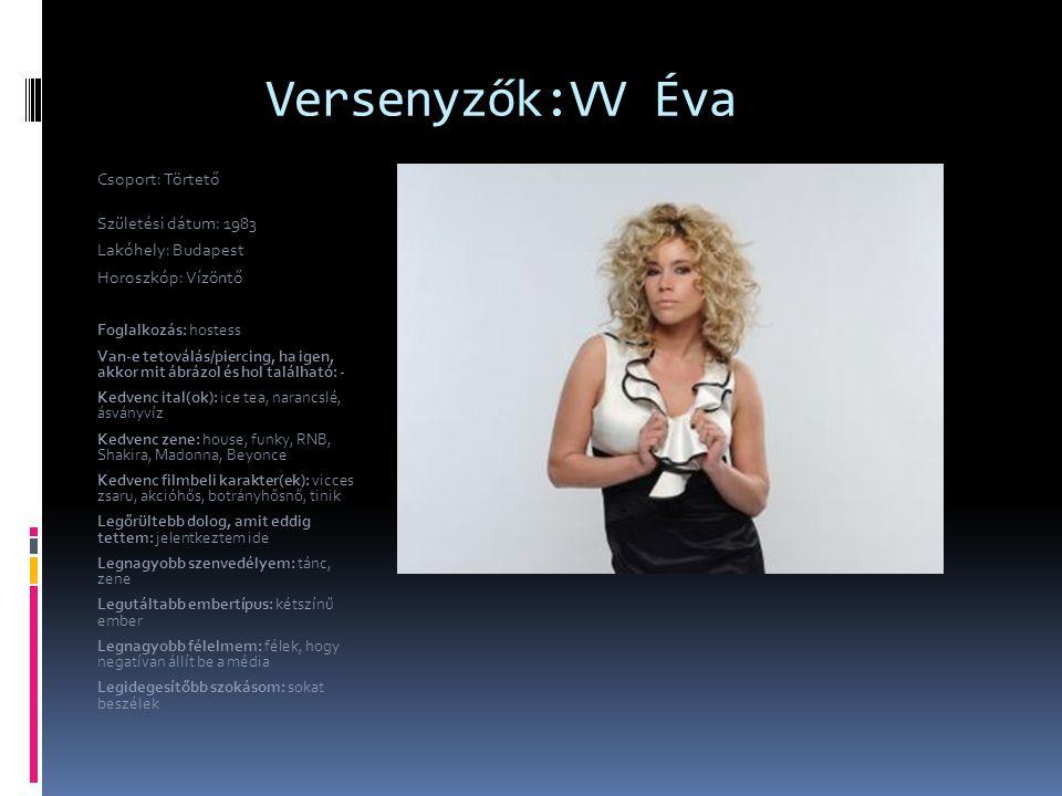 Versenyzők:VV Éva Csoport: Törtető Születési dátum: 1983