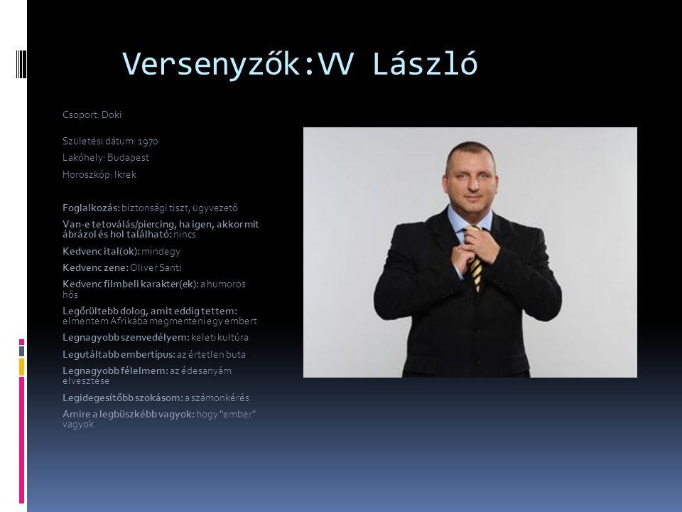 Versenyzők:VV László Csoport: Doki Születési dátum: 1970