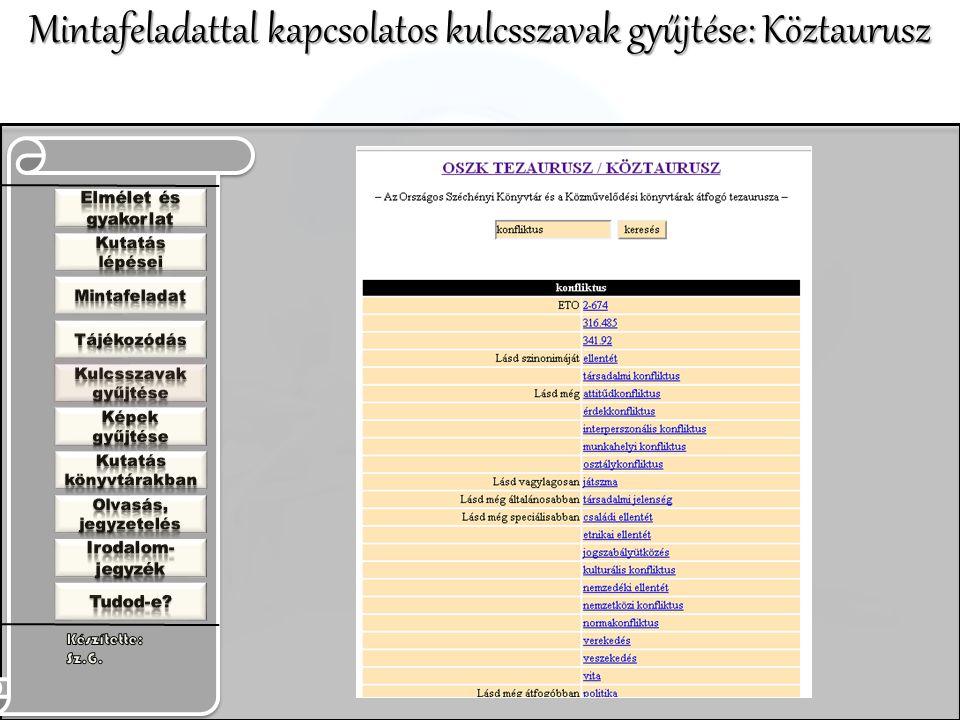 Mintafeladattal kapcsolatos kulcsszavak gyűjtése: Köztaurusz