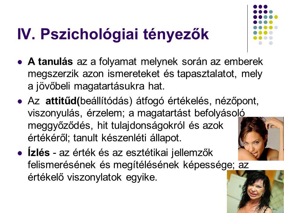 IV. Pszichológiai tényezők