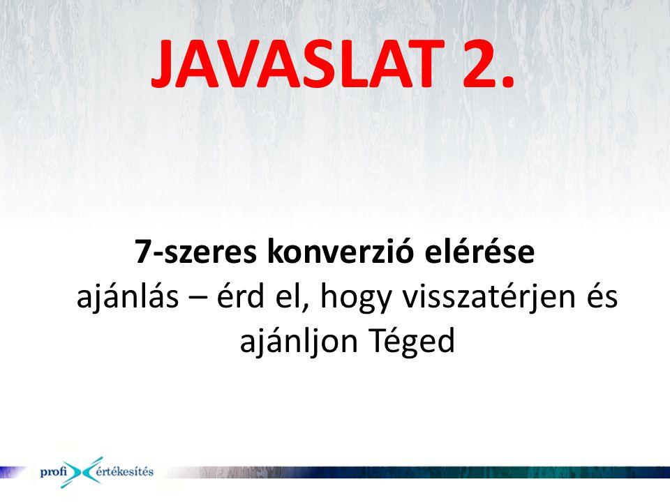 JAVASLAT 2. 7-szeres konverzió elérése ajánlás – érd el, hogy visszatérjen és ajánljon Téged