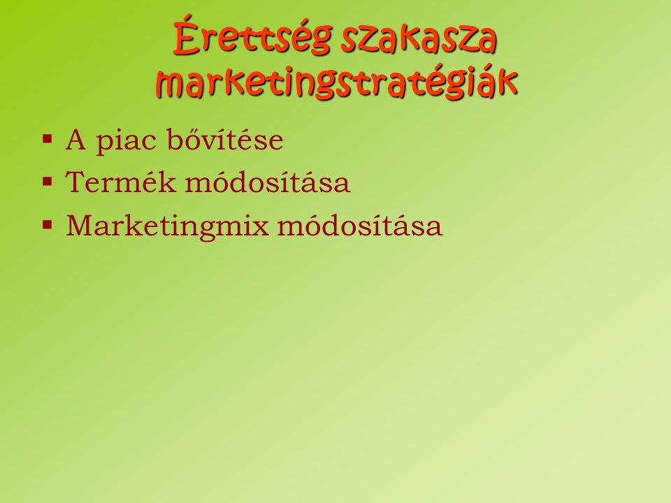 Érettség szakasza marketingstratégiák