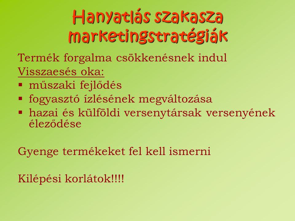 Hanyatlás szakasza marketingstratégiák