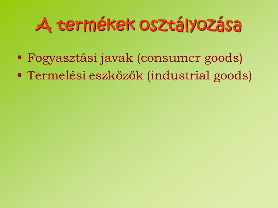 A termékek osztályozása
