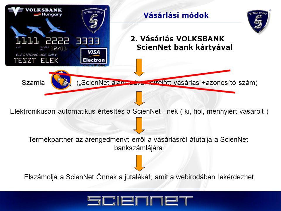 2. Vásárlás VOLKSBANK ScienNet bank kártyával