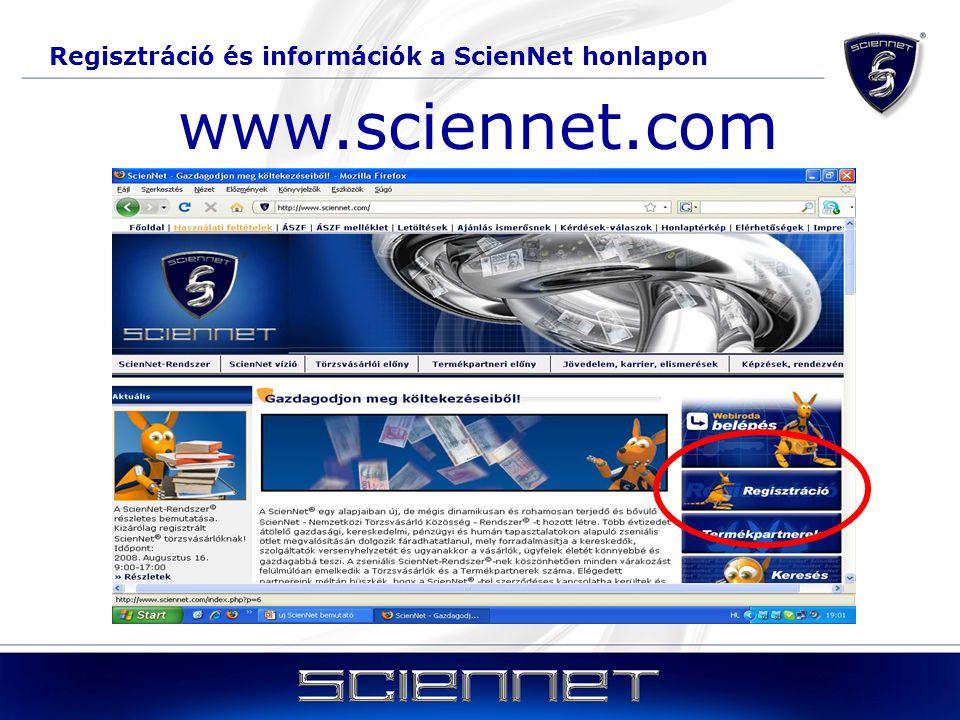 Regisztráció és információk a ScienNet honlapon