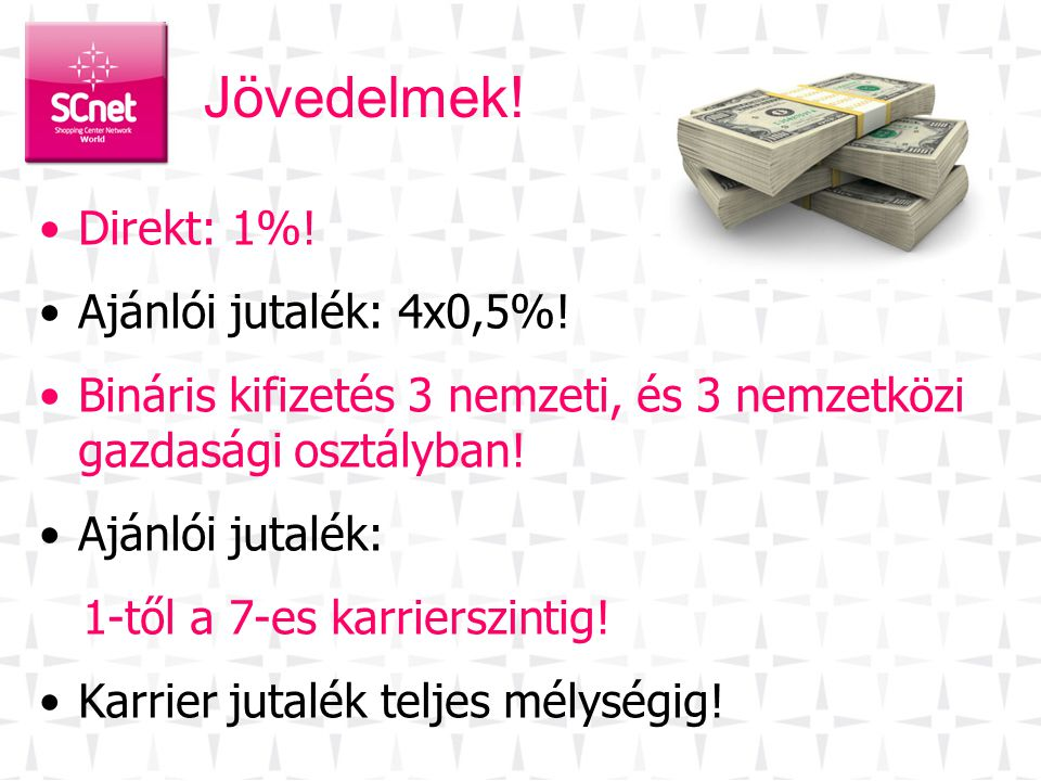 Jövedelmek! Direkt: 1%! Ajánlói jutalék: 4x0,5%!