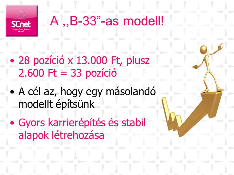 A ,,B-33 -as modell! 28 pozíció x 13.000 Ft, plusz 2.600 Ft = 33 pozíció. A cél az, hogy egy másolandó modellt építsünk.