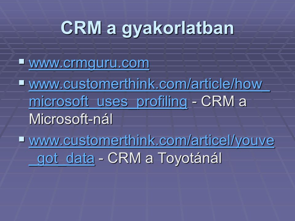 CRM a gyakorlatban www.crmguru.com