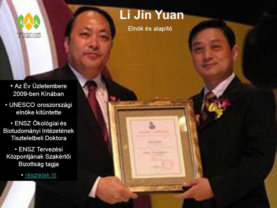 Li Jin Yuan Az Év Üzletembere 2009-ben Kínában Elnök és alapító