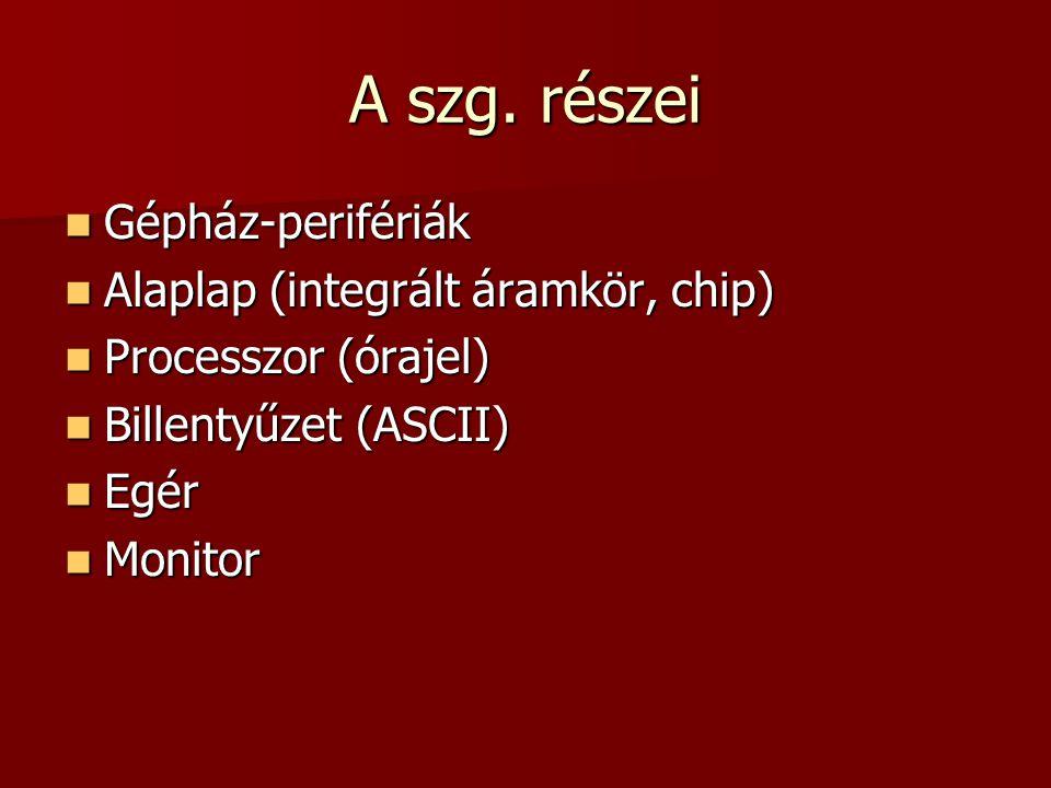 A szg. részei Gépház-perifériák Alaplap (integrált áramkör, chip)