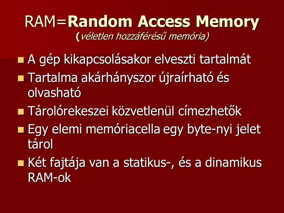 RAM=Random Access Memory (véletlen hozzáférésű memória)