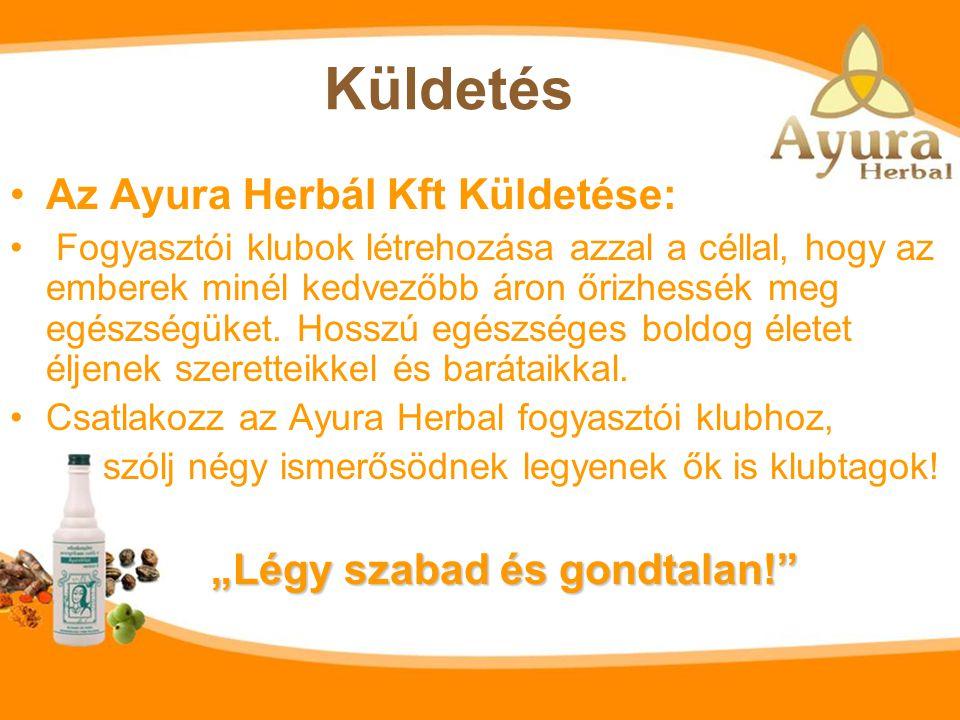 """Küldetés Az Ayura Herbál Kft Küldetése: """"Légy szabad és gondtalan!"""