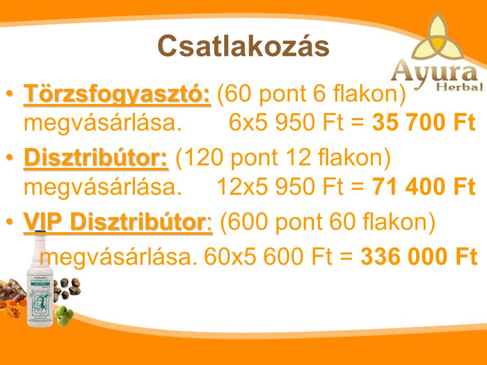 Csatlakozás Törzsfogyasztó: (60 pont 6 flakon) megvásárlása. 6x5 950 Ft = 35 700 Ft.