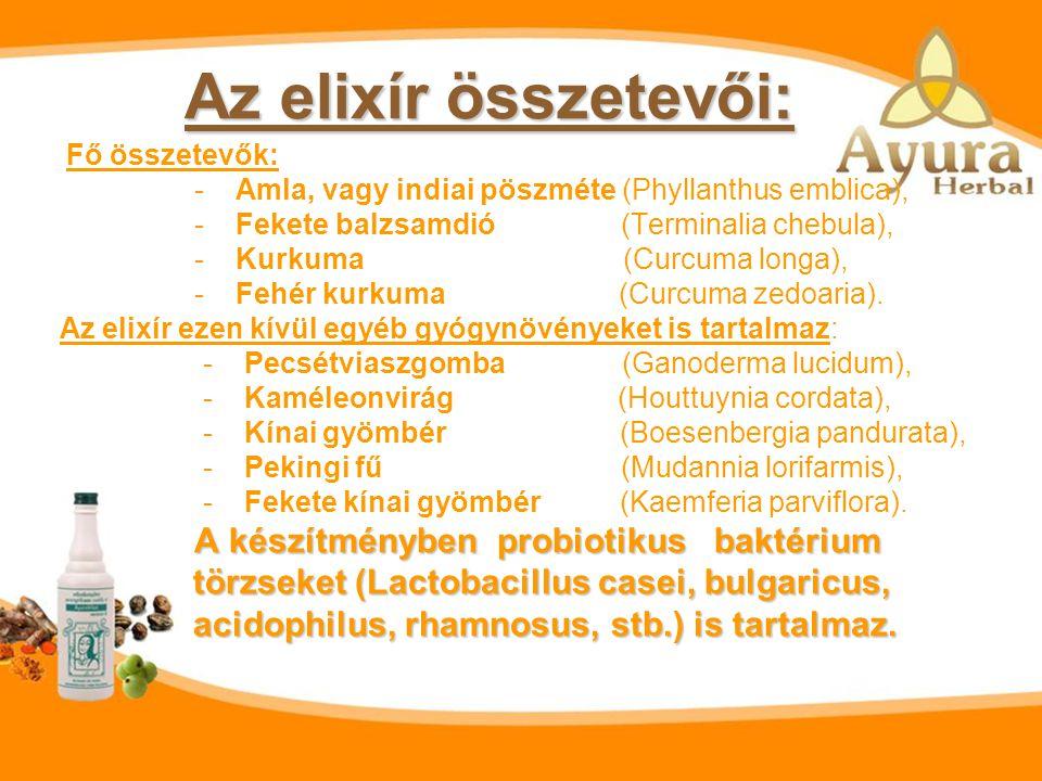Az elixír összetevői: törzseket (Lactobacillus casei, bulgaricus,