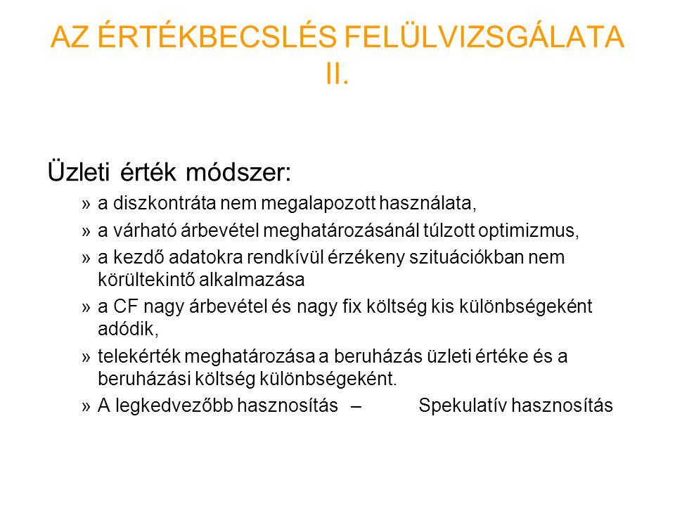 AZ ÉRTÉKBECSLÉS FELÜLVIZSGÁLATA II.