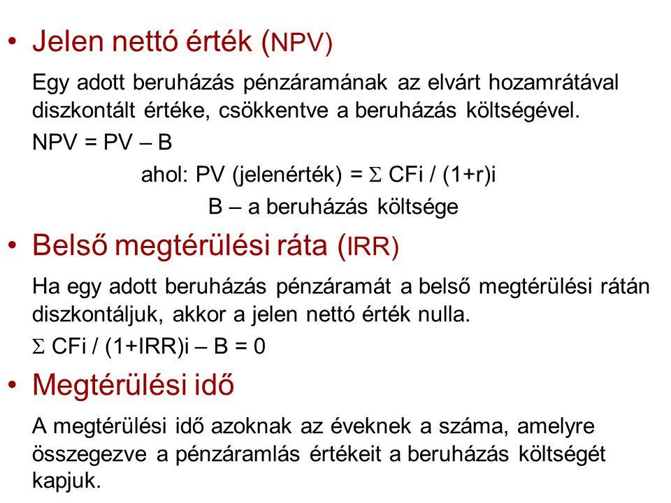 Jelen nettó érték (NPV)