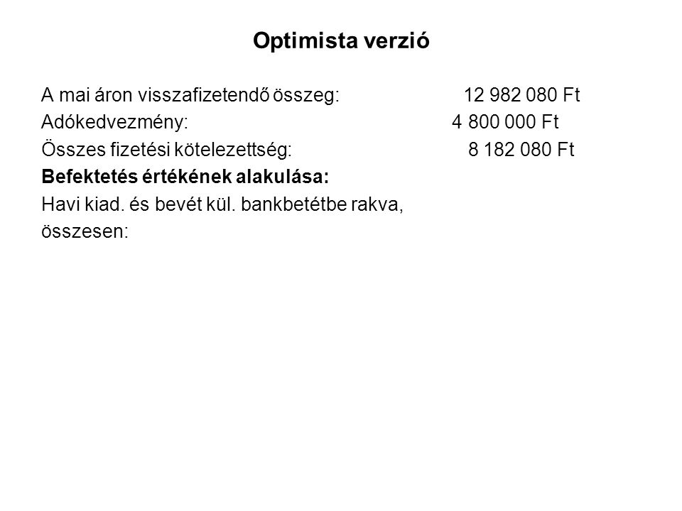 Optimista verzió A mai áron visszafizetendő összeg: 12 982 080 Ft